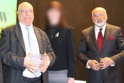 left: Pakistani heritage Mohammed Asghar AM and Saleem Asghar Kidwai of so called Muslim Council of Wales & Trustee of Dar ul Isra Mosque